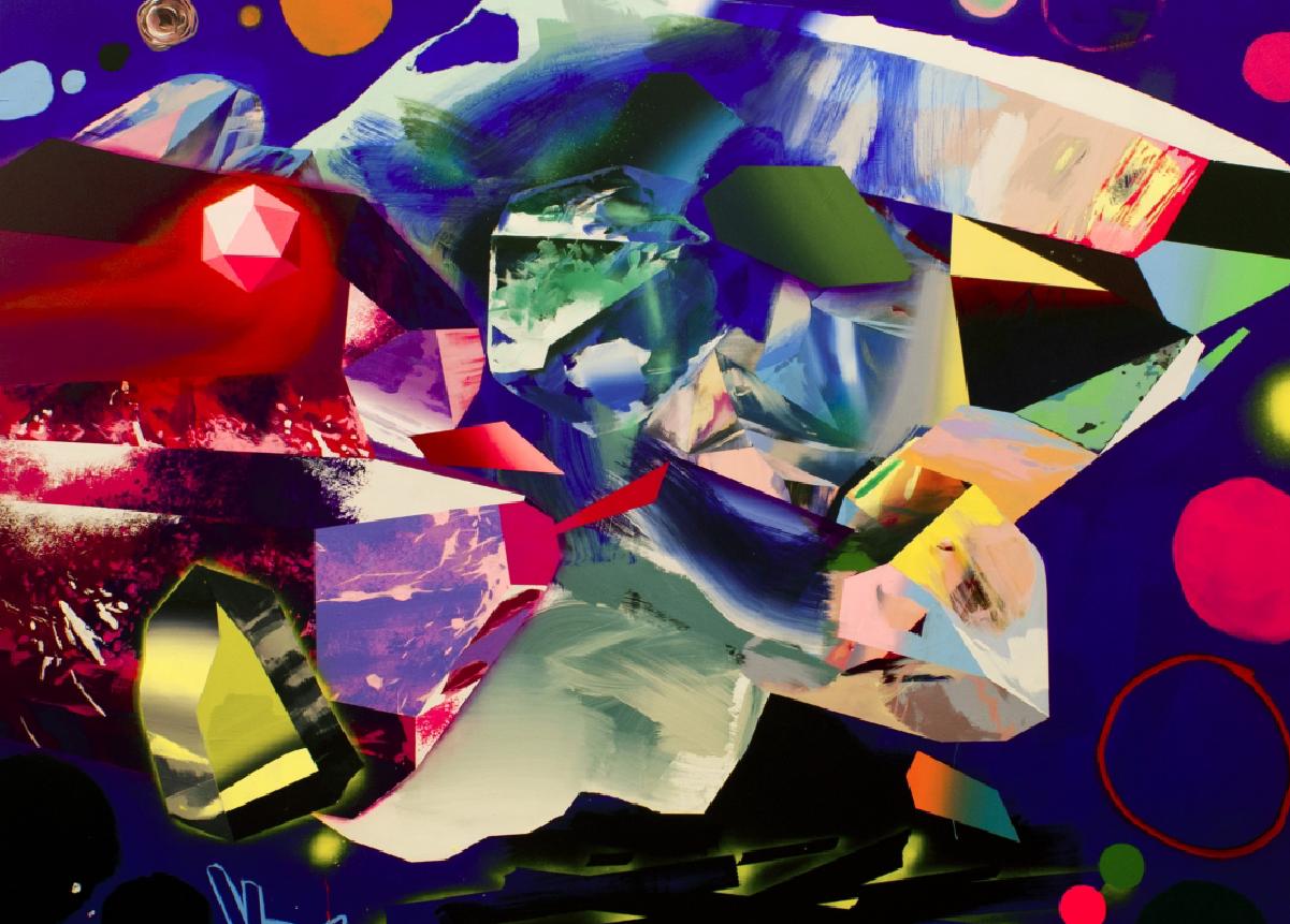 tante forme astratte, colorate. colore di sfondo blu con forme di colori misti e sfumati